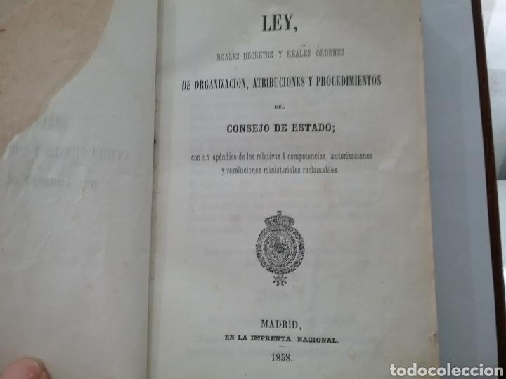 Libros antiguos: Libro Reglamentos del Consejo de Estado 1858 Madrid. Imprenta nacional. - Foto 8 - 151933040