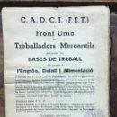 Libros antiguos: BASES DE TREBALL DELS ESTAMENTS DE L'ENGRÒS, DETALL I ALIMENTACIÓ. - [C.A.D.C.I. (F.E.T.) I FRONT UN. Lote 123263595