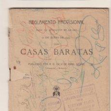 Libros antiguos: REGLAMENTO PROVISIONAL PARA LA APLICACIÓN DE LA LEY 12 DE ENERO DE 1911 SOBRE CASAS BARATAS.. Lote 154281638