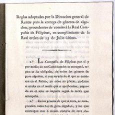 Libros antiguos: REAL COMPAÑIA DE FILIPINAS, 1827. REGLAS. Lote 156959918