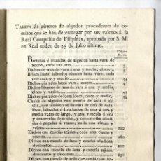 Libros antiguos: REAL COMPAÑIA DE FILIPINAS, 1827. TARIFA DE GENEROS. Lote 156961078