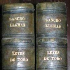Libros antiguos: LLAMAS Y MOLINA, SANCHO: COMENTARIO... A LAS OCHENTA Y TRES LEYES DE TORO. 2 VOLS. 1853. Lote 157462478