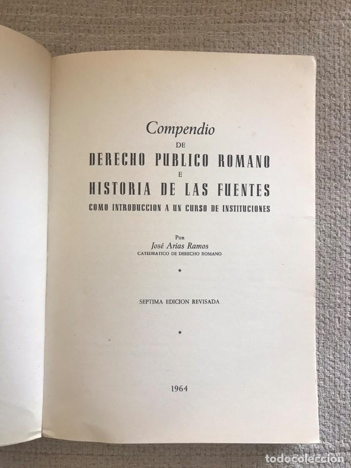 Libros antiguos: LIBRO DERECHO PUBLICO ROMANO - AÑO 1964 - SEPTIMA EDICION - JOSE ARIAS RAMOS - Foto 2 - 158470174