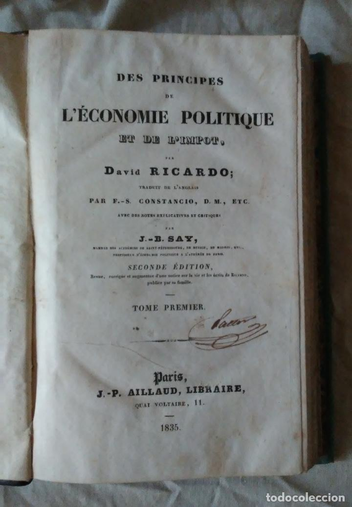 Libros antiguos: PRINCIPIOS DE ECONOMIA POLITICA - DAVID RICARDO - 2 EDIC AÑO 1835. - Foto 2 - 159198862