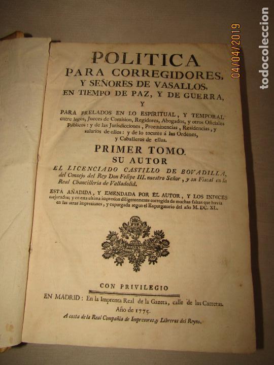 CASTILLO DE BOVADILLA, POLITICA PARA CORREGIDORES Y SR DE VASALLOS EN TIEMPO DE PAZ Y DE GUERRA,1775 (Libros Antiguos, Raros y Curiosos - Ciencias, Manuales y Oficios - Derecho, Economía y Comercio)