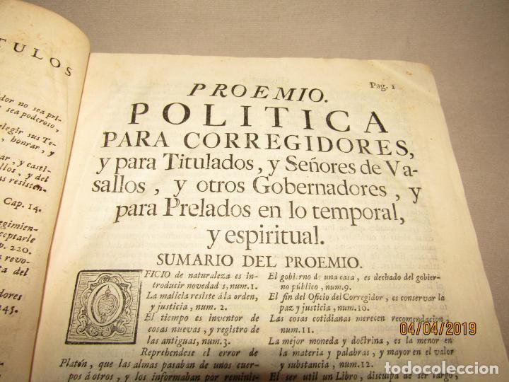 Libros antiguos: CASTILLO DE BOVADILLA, POLITICA PARA CORREGIDORES Y SR DE VASALLOS EN TIEMPO DE PAZ Y DE GUERRA,1775 - Foto 5 - 159362878