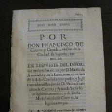Libros antiguos: PLIEGO-SEGOVIA-SIGLO XVIII-VER FOTOS-(V-16.372). Lote 160300470