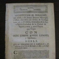 Libros antiguos: PLIEGO-SIGÜENZA-SIGLO XVIII-VER FOTOS-(V-16.373). Lote 160300738