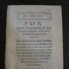 Libros antiguos: PLIEGO-SEGOVIA-SIGLO XVIII-VER FOTOS-(V-16.376). Lote 160301146