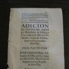 Libros antiguos: PLIEGO-VILLALON-VALLADOLID-SIGLO XVIII-VER FOTOS-(V-16.378). Lote 160301362