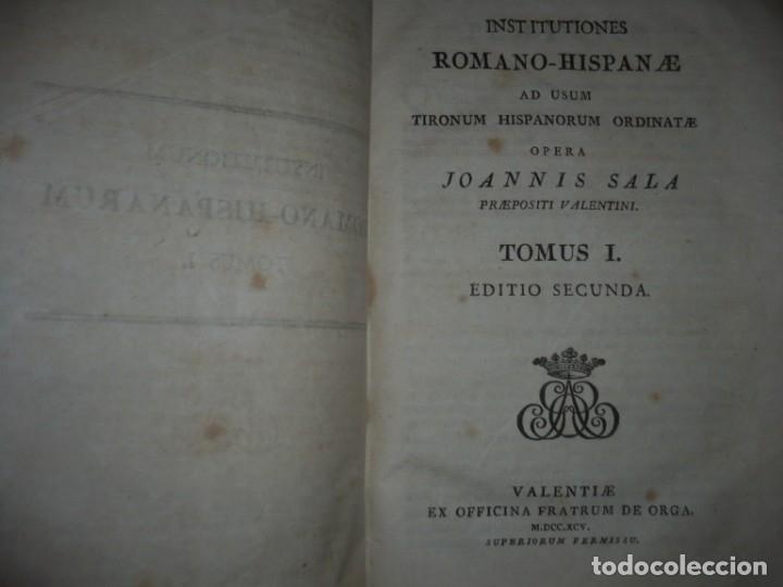 Libros antiguos: JURIS ROMANI HISTORIA -INSTITUTIONES ROMANO-HISPANAE JOANNIS SALA 1895 VALENTIAE - Foto 2 - 160646762