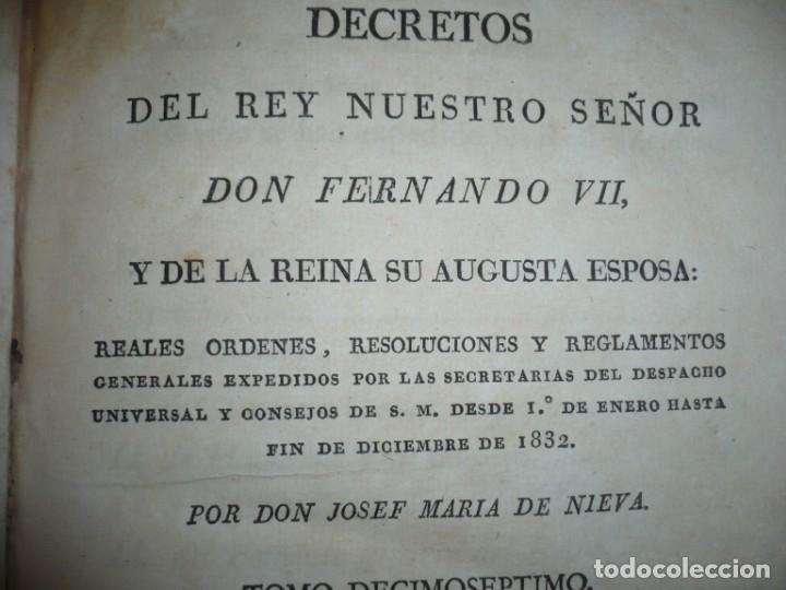 Libros antiguos: DECRETOS DEL REY DON FERNANDO VII Y LA REINA JOSEF MARIA DE NIEVA 1833 MADRID TOMO. 17 - Foto 3 - 162122794