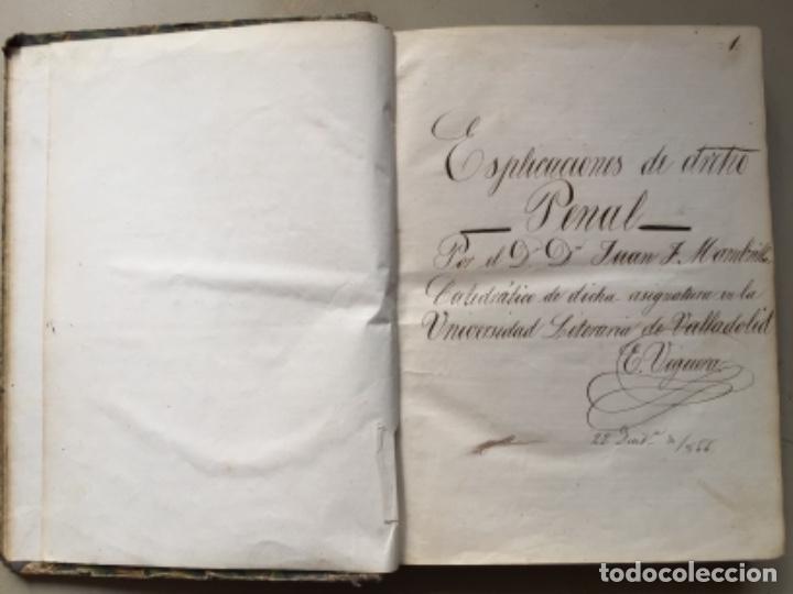 Libros antiguos: 1866. UNIVERSIDAD LITERARIA DE VALLADOLID. EXPLICACIONES DERECHO PENAL. MANUSCRITO 1866 - Foto 2 - 162445658