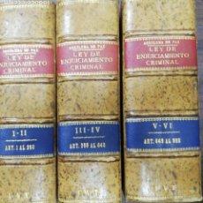 Libros antiguos: COMENTARIOS A LA LEY DE ENJUICIAMIENTO CRIMINAL. ENRIQUE AGUILERA DE PAZ. OBRA EN 6 TOMOS. 1923.LEER. Lote 163335698