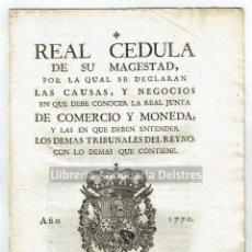 Libros antiguos: [JUNTA DE COMERCIO Y MONEDA. PALMA, 1770] CARLOS III. REAL CEDULA DE SU MAGESTAD, .... Lote 164217458