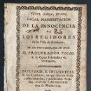 Libros antiguos: 1739 - MANIFESTACIÓN DE LA INOCENCIA DE LOS REGIDORES DE RIUDOMS - TARRAGONA - DERECHO. Lote 164693330