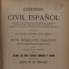 Libros antiguos: CODIGO CIVIL ESPAÑOL. MODESTO FALCON. TOMO SEGUNDO. CENTRO EDITORIAL. MADRID, 1889.. Lote 165225034