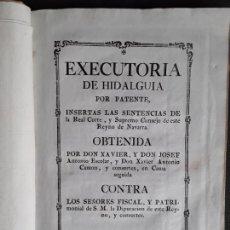 Libros antiguos: EJECUTORIA DE HIDALGUÍA DE NAVARRA. FINALES DEL XVIII.. Lote 166427342