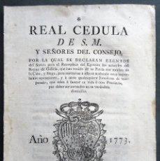 Libros antiguos: GALICIA 1773.REAL CEDULA EXENTOS DEL EJERCITO NATURALES DE GALICIA Y JORNALEROS. CABA Y SIEGA. Lote 166769406