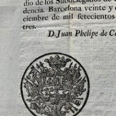 Libros antiguos: 1773 - PRINCIPADO DE CATALUÑA - CIRCULAR SOBRE RENTAS REALES - ECONOMÍA. Lote 167289288