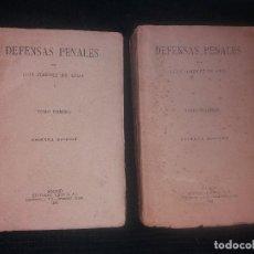 Libros antiguos: DEFENSAS PENALES LUIS JIMENEZ DE ASUA PRIMERA EDICIÓN.1933 TOMO PRIMERO 1935 TOMO SEGUNDO REUS S.A. Lote 204753390