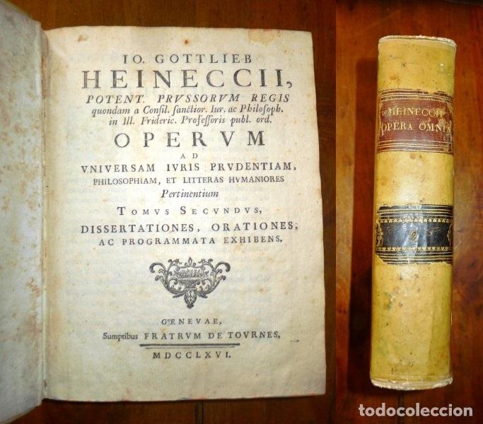 Libros antiguos: HEINECCIUS, Iohann Gottlieb. Opera Omnia. - Genevae : Sumptibus Fratrum de Tournes, 1765-1771 - Foto 2 - 168048040