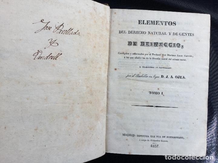 Libros antiguos: Elementos del derecho natural y de gentes de Heineccio. Tomos I y II - Foto 2 - 168611476