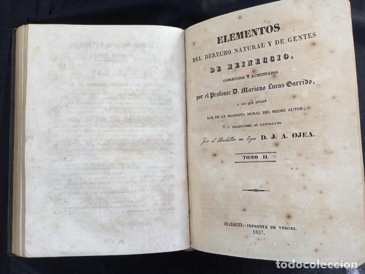 Libros antiguos: Elementos del derecho natural y de gentes de Heineccio. Tomos I y II - Foto 3 - 168611476