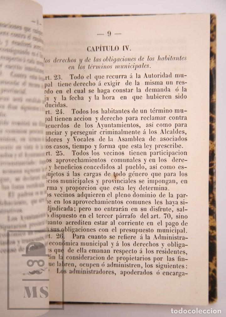 Libros antiguos: Antiguo Libro Leyes Orgánicas de Ayuntamientos, Diputaciones y Provinciales de 1870 - Tarragona,1870 - Foto 3 - 168670924