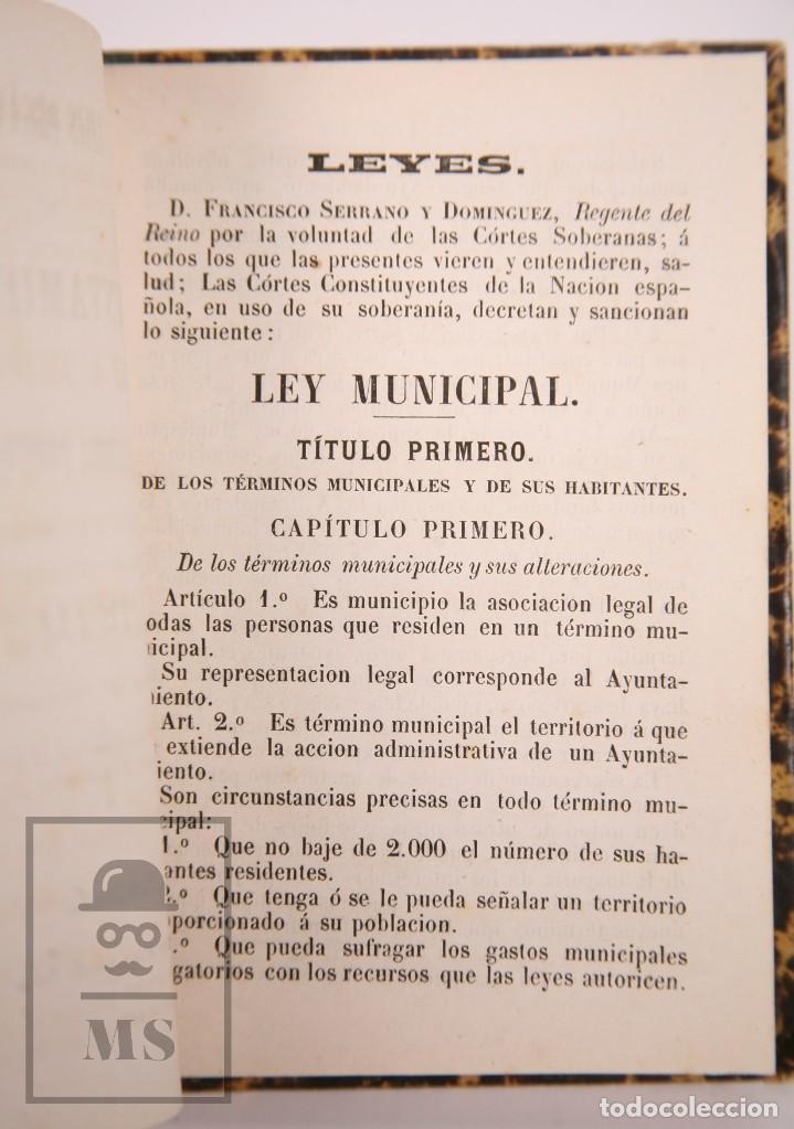 Libros antiguos: Antiguo Libro Leyes Orgánicas de Ayuntamientos, Diputaciones y Provinciales de 1870 - Tarragona,1870 - Foto 4 - 168670924