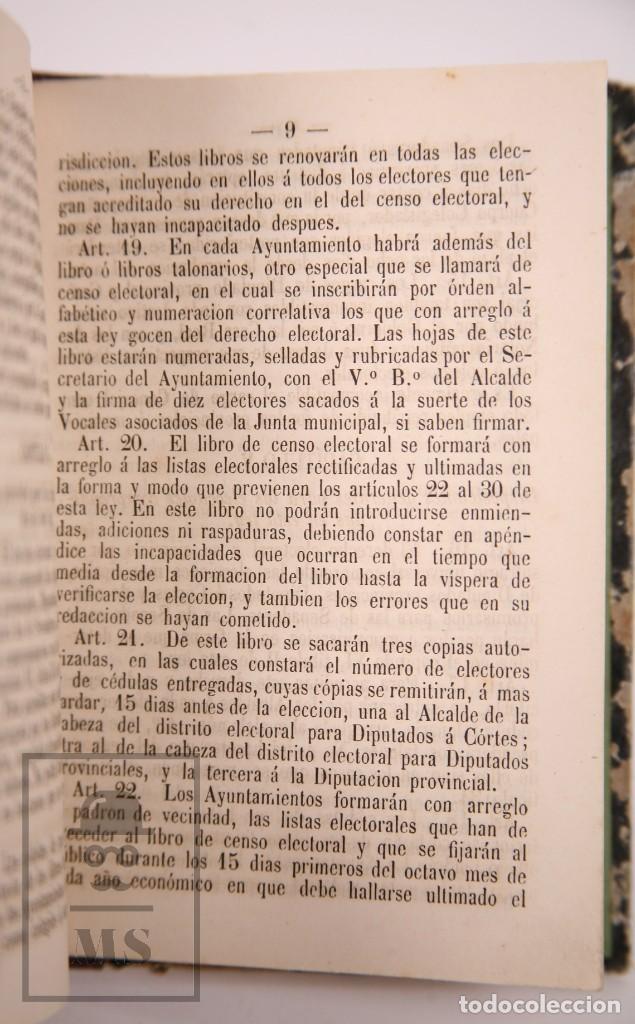 Libros antiguos: Antiguo Libro Ley Electoral de 1870 - Imp. de José Antonio Nel-lo. Tarragona,1870 - Foto 3 - 168671124