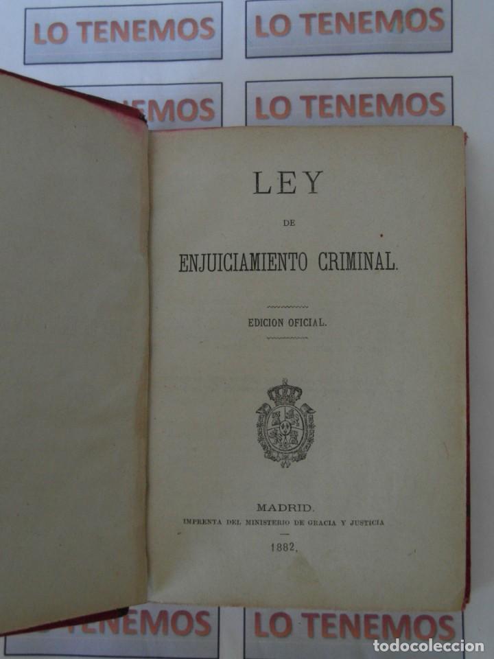 Libros antiguos: Libro Ley de enjuiciamiento criminal de 1882 - Foto 5 - 168714368