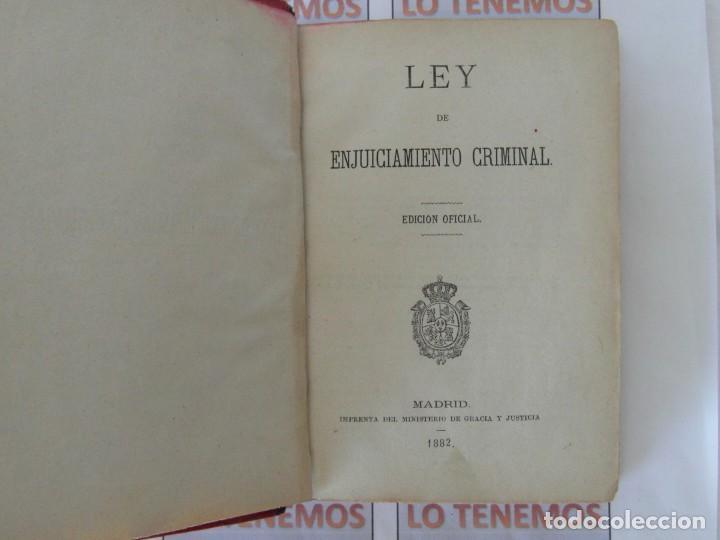 Libros antiguos: Libro Ley de enjuiciamiento criminal de 1882 - Foto 6 - 168714368