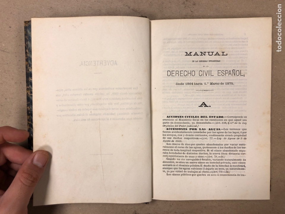 Libros antiguos: MANUAL DERECHO CIVIL ESPAÑOL (DESDE 1864 hasta 1 DE MARZO DE 1875). EDUARDO MALUQUER. 1875, NARCISO - Foto 4 - 169102254