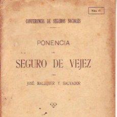Libros antiguos: PONENCIA DEL SEGURO DE VEJEZ 1917. Lote 169257896