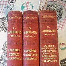 Libros antiguos: EL ABOGADO POPULAR, 3 TOMOS 1898 POR D. PEDRO HUGUET Y CAMPAÑA. Lote 169300964