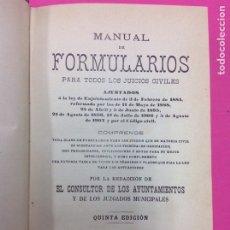 Libros antiguos: MANUAL DE FORMULARIOS PARA TODOS LO JUICIOS CIVILES/ ABELLA/ QUINTA EDICIÓN/ MADRID 1917. Lote 170116949