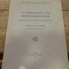 Libros antiguos: LA CRIMINALIDAD Y LAS SECRECIONES INTERNAS, MARIANO RUIZ-FUNES, MURCIA 1927,152 PAGINAS. Lote 171051323
