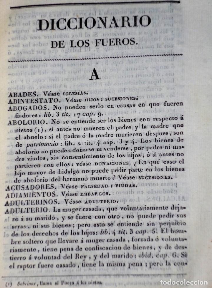 Libros antiguos: Diccionarios de los fueros del Reino de Navarra y de las leyes vigentes .... (1828) - Foto 3 - 171765345