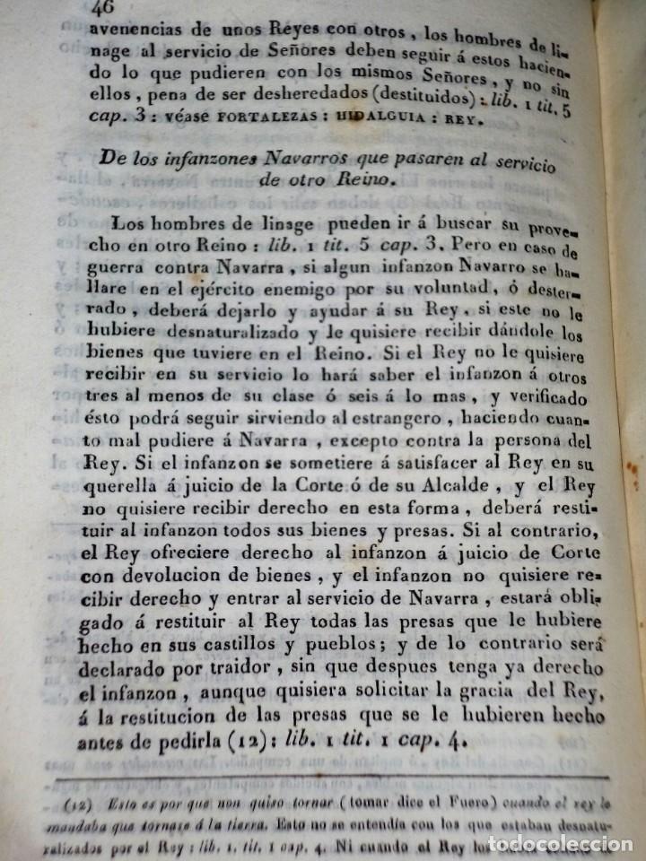Libros antiguos: Diccionarios de los fueros del Reino de Navarra y de las leyes vigentes .... (1828) - Foto 5 - 171765345