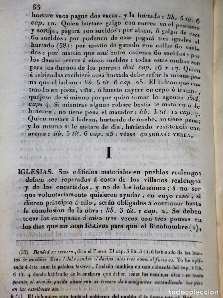 Libros antiguos: Diccionarios de los fueros del Reino de Navarra y de las leyes vigentes .... (1828) - Foto 6 - 171765345