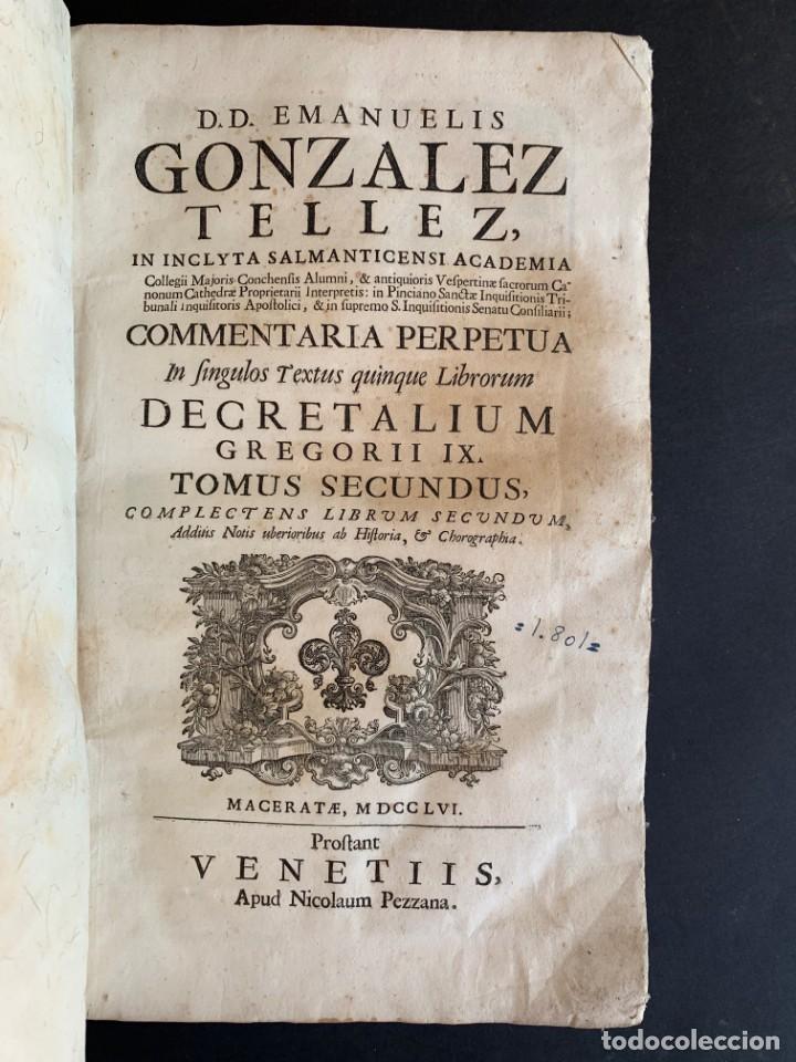 Libros antiguos: 1756 - González Téllez - Escuela de Salamanca - Derecho - Pergamino - Foto 2 - 171911355