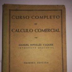 Libros antiguos: CÁLCULO COMERCIAL. Lote 172009222