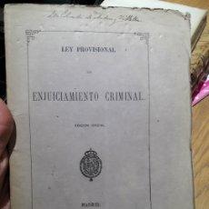 Libros antiguos: LEY PROVISIONAL DE ENJUICIAMIENTO CRIMINAL, MADRID, MINISTERIO DE GRACIA Y JUSTICIA, 1872. Lote 173030268