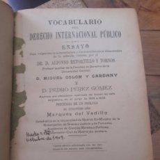 Libros antiguos: VOCABULARIO DEL DERECHO INTERNACIONAL PUBLICO, ALFONSO RETORTILLO 1910. Lote 173110325