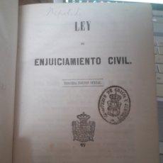Libros antiguos: LEY DE ENJUICIAMIENTO CIVIL, 3ª ED. OFICIAL. MINISTERIO DE GRACIA Y JUSTICIA, 1858. TAPA DURA. Lote 173120490