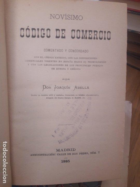 Libros antiguos: Novísimo Código de Comercio, ABELLA, Joaquín. Madrid. 1885. Enrique de la Riva - Foto 3 - 173366523