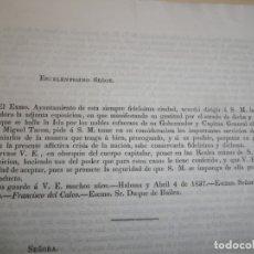 Libros antiguos: CARTA A ISABEL II DEL AYUNTAMIENTO DE LA HABANA. MÉRITOS DEL GOBERNADOR D MIGUEL TACÓN 1837. Lote 235571145