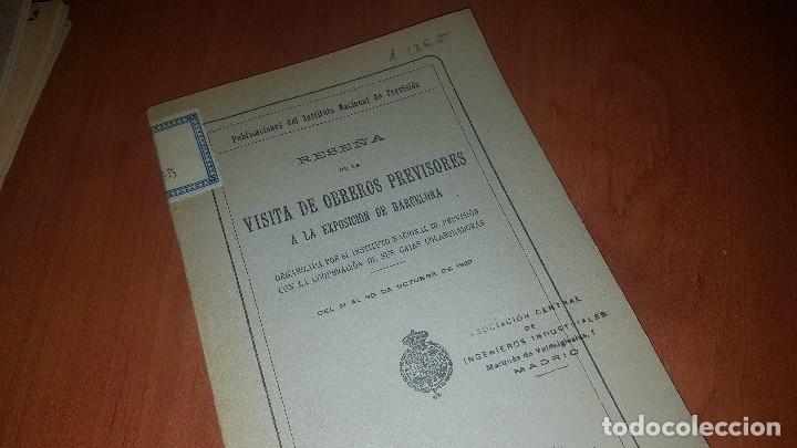 Libros antiguos: Reseña de la visita de obreros previsores a la exposicion de barcelona, madrid 1929 - Foto 2 - 173620212