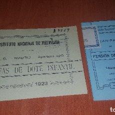 Libros antiguos: TARIFAS DE DOTE INFANTIL Y DE PENSION DE RETIRO, DE 1923 Y 1930, INST. NACIONAL DE PREVISION. Lote 173623889